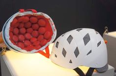 EB13: Rockwell's Unique Plastic Bead Pod Bicycle Helmets - Interesting Design.