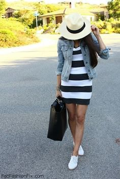 Denim jacket and striped dress for casual outfit. #stripes #denimjacket