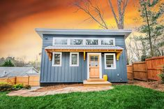Blue ADU Tiny House by Nanostead in Asheville - Dream Tiny Living Tiny House On Wheels, Small House Plans, Tiny House Australia, North Carolina, Tiny House Exterior, Little Houses, Tiny Houses, Guest Houses, Cob Houses