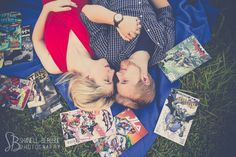 retro comic book theme engagement photo session