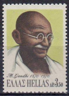 Mahatma Gandhi Stamp from Greece 1870 - 1970.