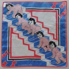 Dionne Quintuplets Climbing Stairs NEA Tom Lamb Childs Hankie