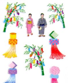 Japanese Stickers Summer Stickers (S247) Tanabata Japanese star festival