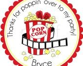 Night At The Movies Personalized Stickers - Party Favor Labels, Address Labels, Gift Tag, Birthday Stickers, Movie Theater - Choice of Size