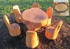 Nature Log Table & Log Chairs (4)
