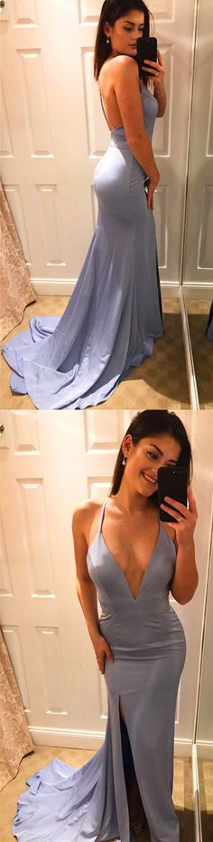 V-Neck Sexy Satin Prom Dress,Long Prom Dresses,Prom Dresses,Evening Dress, Evening Dresses,Prom Gowns, Formal Women Dress,prom dress,