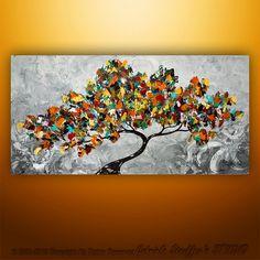 Abstract Modern Landscape Tree Palette Knife Art by Gabriela 48x24 Large