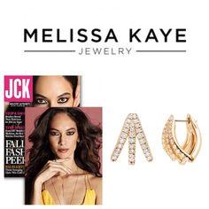 #MelissaKayeJewelry Cris #earring in #18k yellow #gold with #diamonds featured in JCK Magazine #jewelry #finejewelry #yellowgold #hoops #JCK #JCKMagazine #magazine #fashion #style @jckmagazine