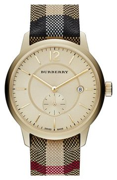 Burberry+Textured+Dial+Leather+Strap+Watch,+40mm+available+at+#Nordstrom