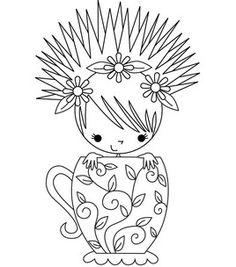 Stamping Bella Unmounted Rubber Stamp-Miranda The Teacup Girl
