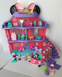 Fisher Price Minnie Mouse Bow Sweet Home Doll House Disco Polka Dot Jet Plane