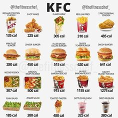 Tag a KFC lover, hit save and keep you and your friends informed on the calorie … - Health & Nutrition Facts Low Calorie Fast Food, Healthy Fast Food Options, Fast Healthy Meals, Healthy Eating, Healthy Recipes, Healthy Mcdonalds Options, Fast Foods, Healthy Tips, Food Calories List