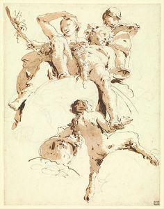 Bacchus and Ariadne Artist: Giovanni Battista Tiepolo (Italian, Venice Madrid) Date: ca. 1740 Medium: Pen and brown ink, brown wash, over black chalk. Figure Painting, Figure Drawing, Painting & Drawing, Ink Pen Drawings, Drawing Sketches, Chalk Drawings, Art Postal, Baroque Art, Classic Paintings
