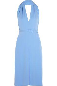 Gucci Backless Silk-Crepe Halterneck Dress, $2,100; net-a-porter.com     - ELLE.com