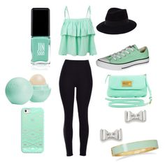 """""""Mint Green!"""" by aj-xo-lee on Polyvore featuring LE3NO, Maison Michel, Converse, Marc by Marc Jacobs, Jin Soon, Eos, Casetify, BillyTheTree, women's clothing and women"""