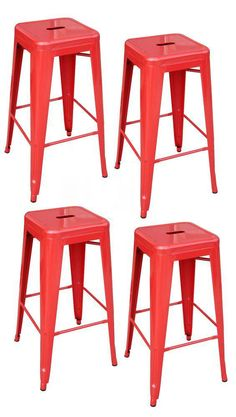 30 In. Black Metal Bar Stool Set, (4-pack)