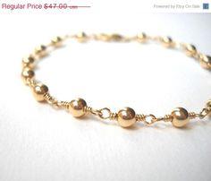 Memorial Day Sale Beaded Gold Bracelet  by VeronicaRussekJoyas, $35.25