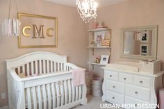 Gold, pinks, creams and whites for a baby girl's nursery. So cute! So warm!