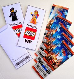 Free Printable (and customizeable) Ticket Style Party Invitations -- The Lego Movie.  Add your own text, then print out.  We had ours printed out at Costco for just 20-cents each!  Free printable for a custom envelope as well.  #LEGO