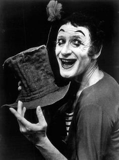 """Marcel Marceau as Bip the Clown in 1974.  Of his summation of the ages of man in the famous Youth, Maturity, Old Age and Death, one critic said: """"He accomplishes in less than two minutes what most novelists cannot do in volumes."""""""