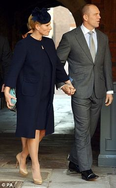 Mike and Zara Tindall at Prince George's christening