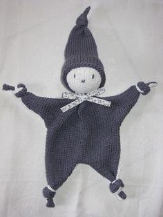 Doudou lutin 100%coton, ruban, tricoté main, lavable, coloris au choix - Nanie Laine - Boutiques