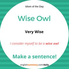 As Wise as Owl Meaning and Use Advanced English Vocabulary, English Vocabulary Words, English Phrases, Grammar And Vocabulary, English Idioms, English Lessons, English Grammar, Interesting English Words, Learn English Words