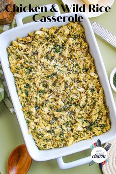 Chicken Wild Rice Casserole is comfort food at it's best. This is easy, fast and delicious. Your whole family will love this recipe! Chicken Wild Rice Casserole, Chicken And Wild Rice, Casserole Dishes, Slow Cooked Chicken, Oven Baked Chicken, Grilled Chicken, Best Chicken Recipes, Rice Recipes, Chicken And Biscuits