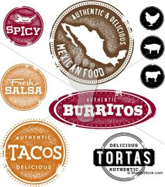 Mexican Restaurant Menu Design Stamps