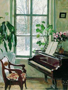Interior with a Piano by Stanislav Zhukovsky, 1916-1917.