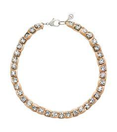 Tory Burch raffia/crystal necklace.
