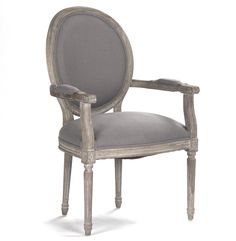 Amazon.com - Madeleine French Country Oval Gray Linen Dining Arm Chair -