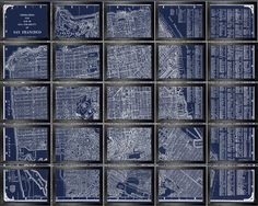 California Map. Sectional Map of California, 20 Panel Map of California, 8x10 or 11x14 images    Cool map of San Francisco 1935. It has been
