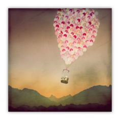 NEVER STOP EXPLORING WITH BALLOONS Wood Print $35.00