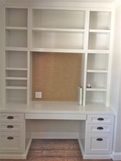 diy built in bookcase and desk - modify for closet office remodel. Would close in top shelves. Furniture, Craft Room Office, Built In Desk, Shelves, Closet Office, Home, Closet Desk, Home Diy, Built In Bookcase