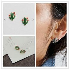 Timlee Sweet Drops Of Oil Fashionable Cactus Exquisite Studs Earrings,Fashion Jewelry. Cactus Earrings, Women's Earrings, Fashion Earrings, Fashion Jewelry, Style Fashion, Cheap Earrings, Jewelry Party, Green Plants, Shape Patterns