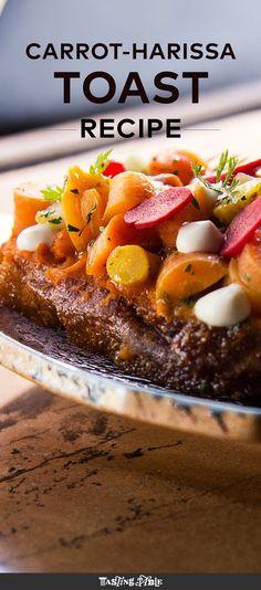 A vegan toast from Avant Garden uses carrots 3 ways.