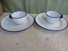 Vintage Kockums Sweden Enamel 2 Cups and 2 Plates White Blue Rim Nice | eBay