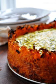 Goat Cheese Quiche with Sweet Potato Crust - Farmgirl Gourmet @Ronna Rubin Rubin Hellweg For when you start eating potatoes again.