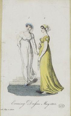 May 1803 English fashion plate 1800s Fashion, 18th Century Fashion, Regency Dress, Regency Era, Yellow Ballgown, Royal Society Of London, English Fashion, Georgian Era, Antique Prints