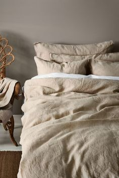 Washed linen duvet cover set - Linen beige - Home All | H&M GB 1