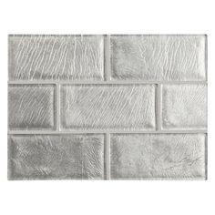 "Complete Tile Collection WindGlass - Handmade Tile Collection, 2"" X 4"" Glass Field Tile, MI#: 038-G1-269-611, Color: Silver Leaf"