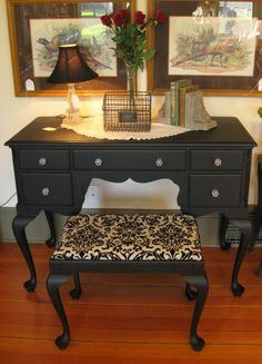 Queen Anne style vanity or desk with stool in classic black