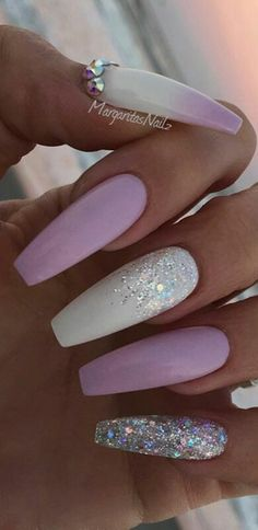 Purple white glitter nails