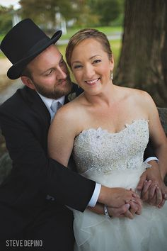 bride and groom portrait, wedding photography, wedding, lace wedding gown, top hat, derby hat, outdoor portrait, wedding portrait
