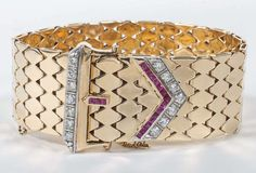 Retro Diamond Buckle Bracelet Accented with Ruby | From a unique collection of vintage more bracelets at https://www.1stdibs.com/jewelry/bracelets/more-bracelets/