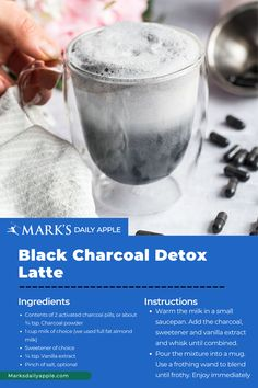 You've had emerald green matcha lattes, vibrant golden turmeric lattes … why not try a smoky black charcoal latte? Activated Charcoal Pills, Latte Recipe, Primal Recipes, Saturated Fat, Serving Size, Turmeric, Matcha, Emerald Green, Detox