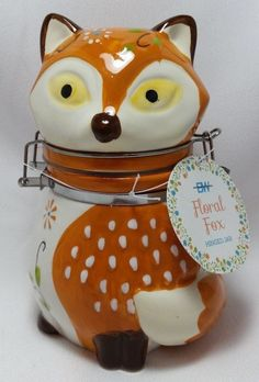 Floral Fox Hinged Jar Woodland Friends Treat Snack Candy Canister Orange Brown  #BostonWarehouse