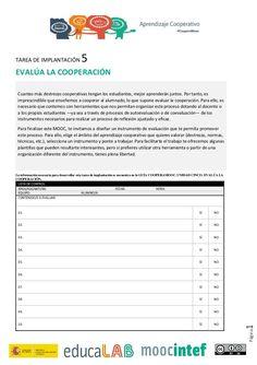 Página1 TAREA DE IMPLANTACIÓN 5 EVALÚA LA COOPERACIÓN Cuantas más destrezas cooperativas tengan los estudiantes, mejor apr...