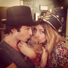 Ian and his cosmic sister Dawn with a little furry baby.